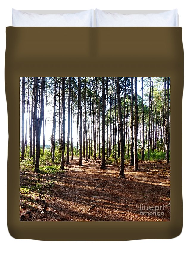 Forest Duvet Cover featuring the photograph Forest Light by Carlos Amaro