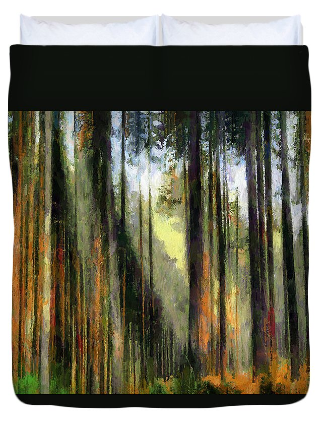 Forest Duvet Cover featuring the digital art Forest Light by Ronald Bolokofsky