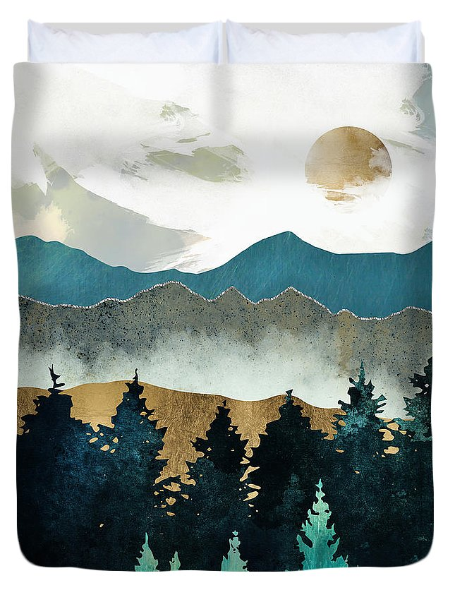 Forest Duvet Cover featuring the digital art Forest Mist by Spacefrog Designs