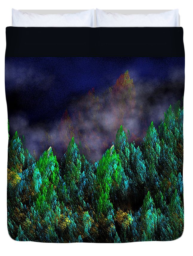 Abstract Digital Painting Duvet Cover featuring the digital art Forest Primeval by David Lane