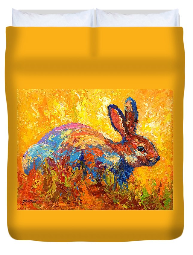 Rabbit Duvet Cover featuring the painting Forest Rabbit II by Marion Rose