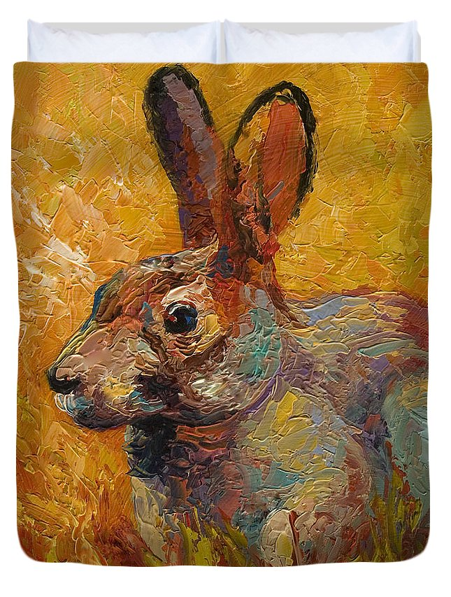 Rabbit Duvet Cover featuring the painting Forest Rabbit IIi by Marion Rose