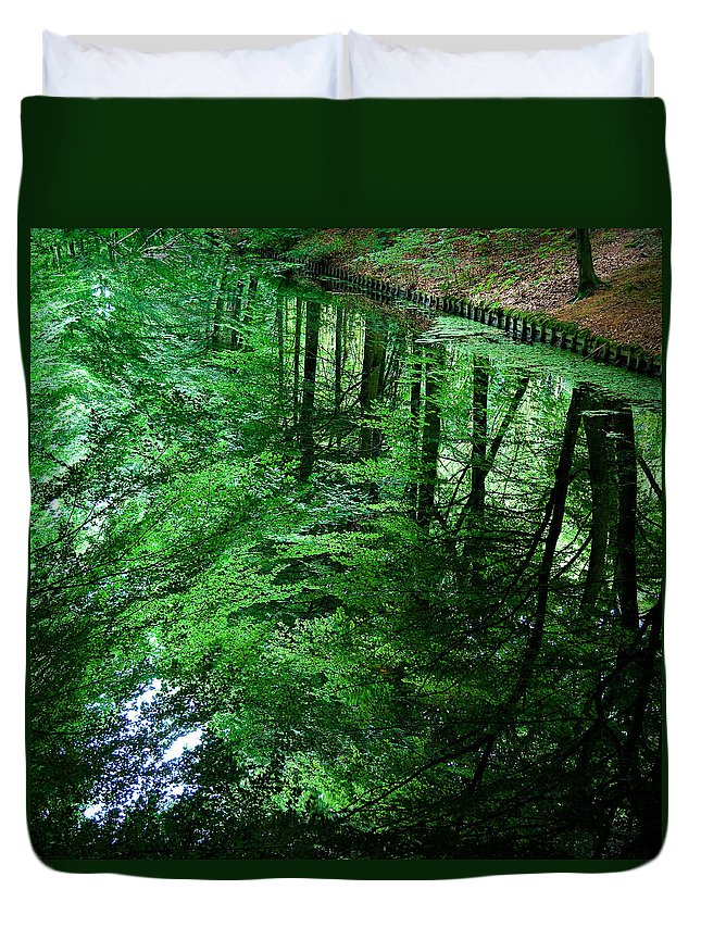 Forest Duvet Cover featuring the photograph Forest Reflection by Dave Bowman
