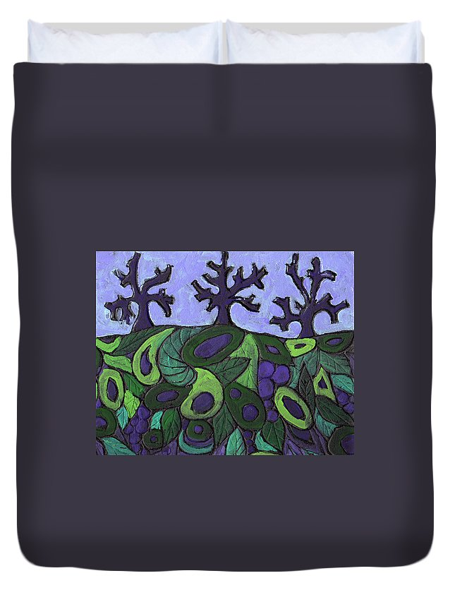 Forest Duvet Cover featuring the painting Forest Royal by Wayne Potrafka