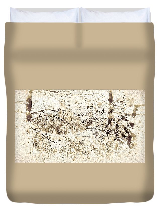 Og Duvet Cover featuring the photograph Forest Snow by Kathy Bassett