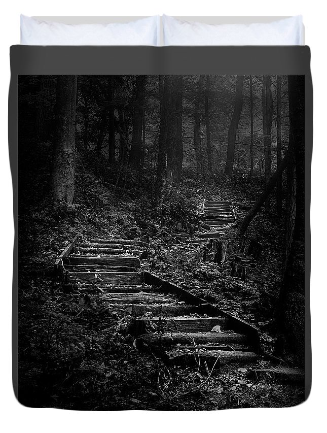 Landscape Duvet Cover featuring the photograph Forest Stairs by Scott Norris