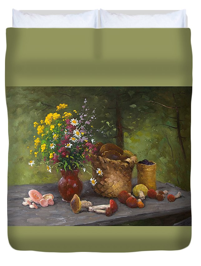 Alexandrovsky Duvet Cover featuring the painting Forest Still Life by Alexander Alexandrovsky