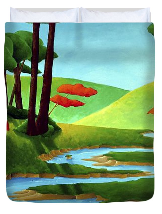 Landscape Duvet Cover featuring the painting Forest Stream - Through The Forest Series by Richard Hoedl