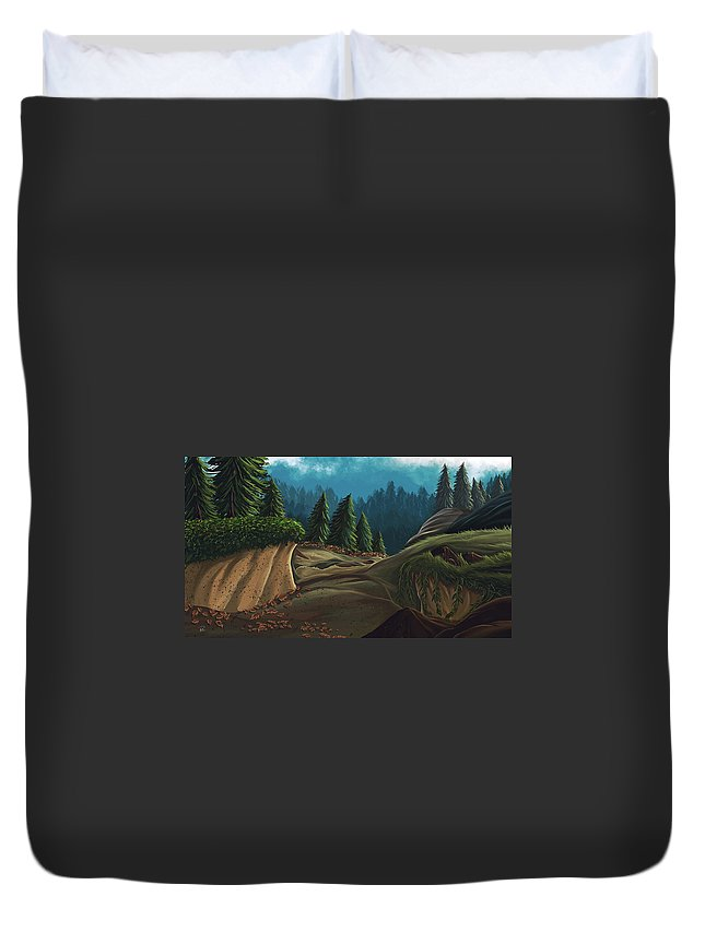 Forest Duvet Cover featuring the digital art Forest Study by Rodd Lopes