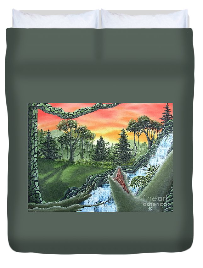 Forest Sunset Waterfall Canvas Prints Landscape Canvas Prints Painting Oldgrowth Boreal Forest Waterfall Cascade Paintings Nature Images Oldgrowth Forest Paintings Boreal Forest Paintings Appalachian Forest Paintings Forest Landscape Paintings Woodland Landscape Oil Paintings Mature Forest Sunset Paintings Fine Art Natural Landscape Oil Paintings Forest Waterfall Oil Paintings Forest Cascade Oil Paintings Forest Painting Prints Waterfall Painting Prints Natural Landscape Painting Prints Duvet Cover featuring the painting Forest Sunset Cascade by Joshua Bales