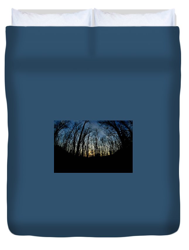 Trees Duvet Cover featuring the photograph Forest Sunset by Shelley Smith