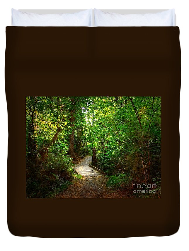Trail Duvet Cover featuring the photograph Forest Trail by Sharon Talson