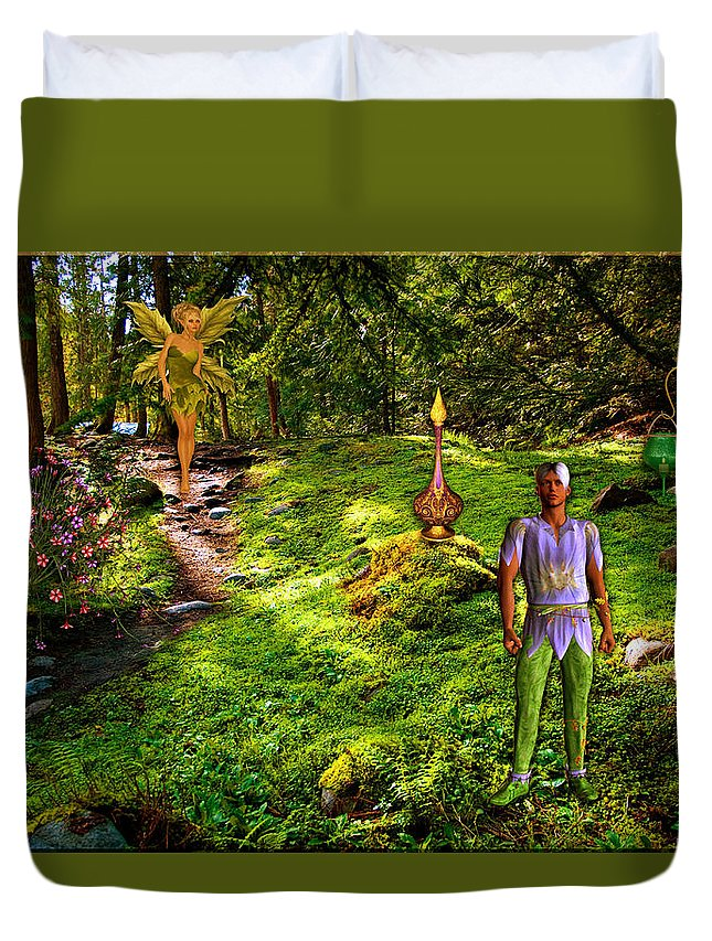 Forest Duvet Cover featuring the digital art Forest Walk by Austin Torney