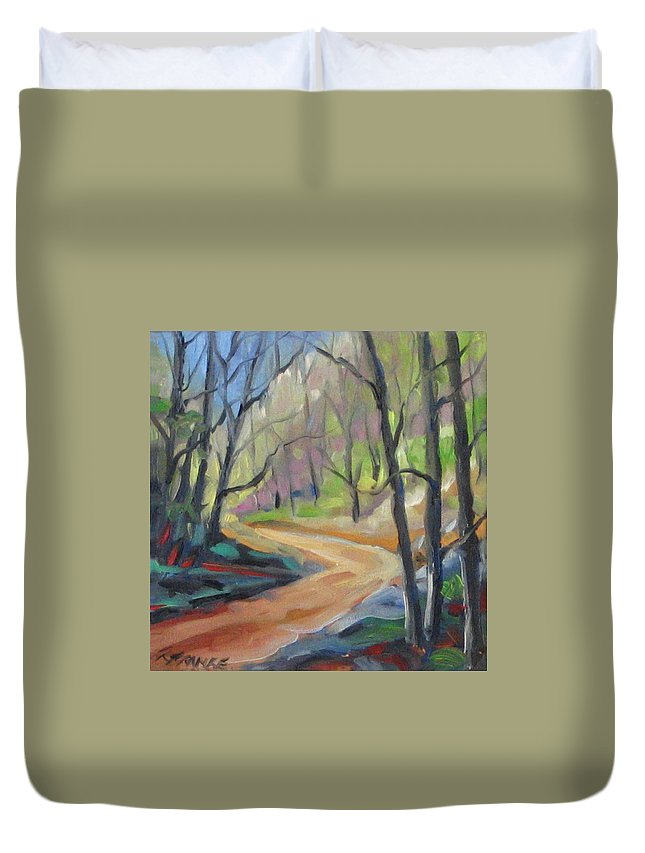 Art Duvet Cover featuring the painting Forest Way by Richard T Pranke