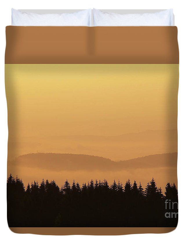 Hill Duvet Cover featuring the photograph Forested Hills In Early Morning Mist by Michal Boubin