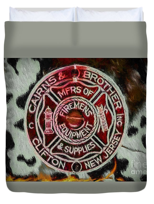 Fire Helmet Duvet Cover featuring the digital art Forged In Fire - Cairns - Oil by Tommy Anderson