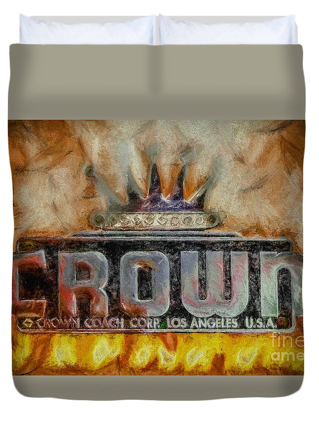 Crown Duvet Cover featuring the digital art Forged In Fire - Crown - Oil by Tommy Anderson