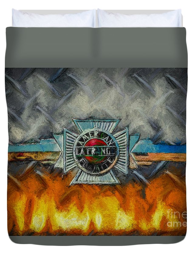Alfco Duvet Cover featuring the digital art Forged In Fire - Vintage American Lafrance - Oil by Tommy Anderson