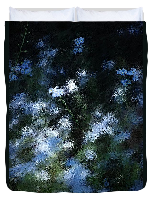 Abstract Duvet Cover featuring the digital art Forget Me Not by David Lane