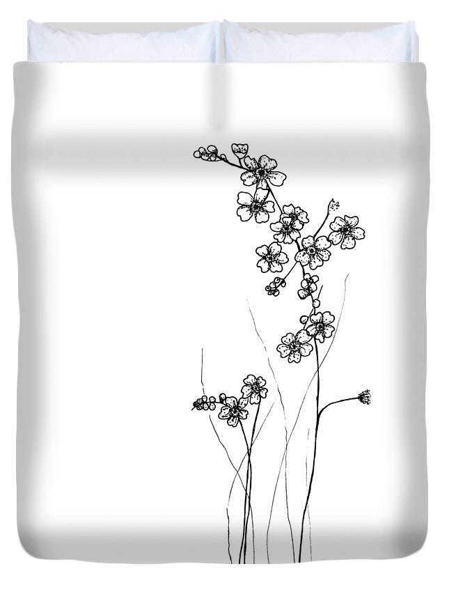 Floral Duvet Cover featuring the drawing Forget-me-nots by Jessica Mileur
