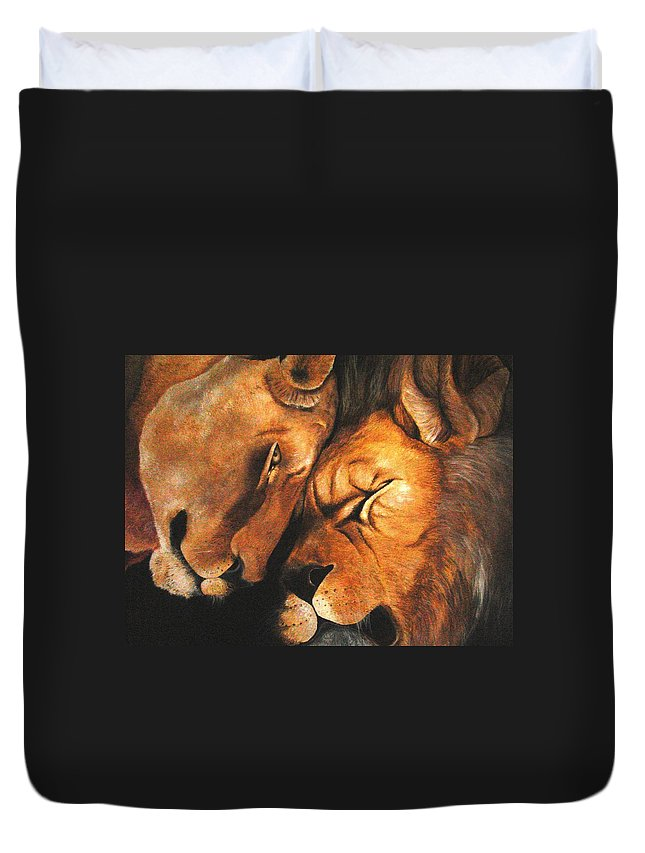 Lion Duvet Cover featuring the painting Forgiven by Glory Fraulein Wolfe