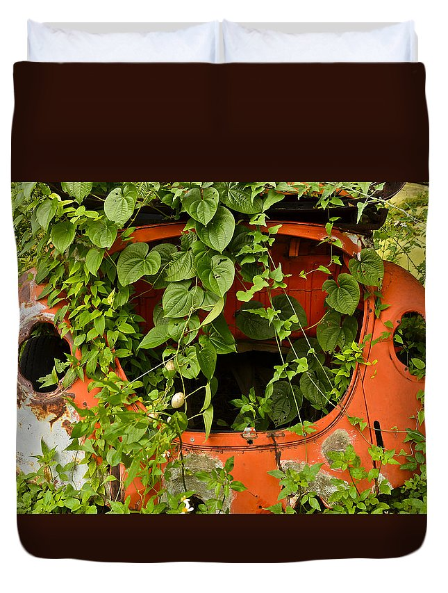 Vw Bug Duvet Cover featuring the photograph Forgotten by Carolyn Marshall