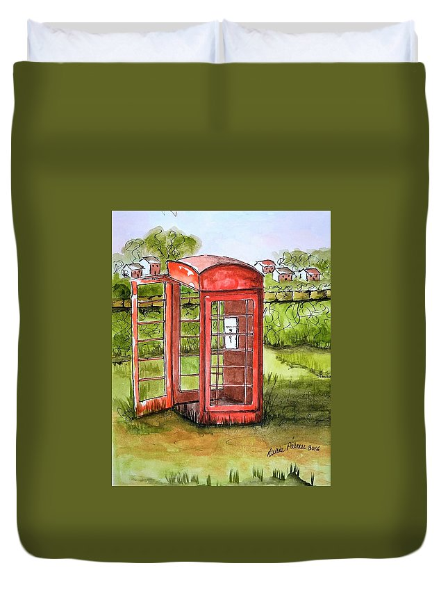 Phone Duvet Cover featuring the painting Forgotten Phone Booth by Diane Palmer