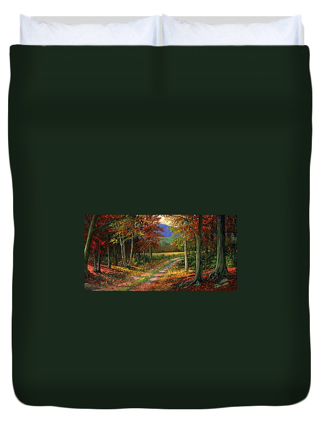 Landscape Duvet Cover featuring the painting Forgotten Road by Frank Wilson