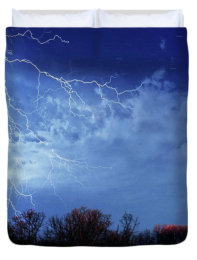 Lightning Duvet Cover featuring the photograph Forked Lightning by Max Neivandt