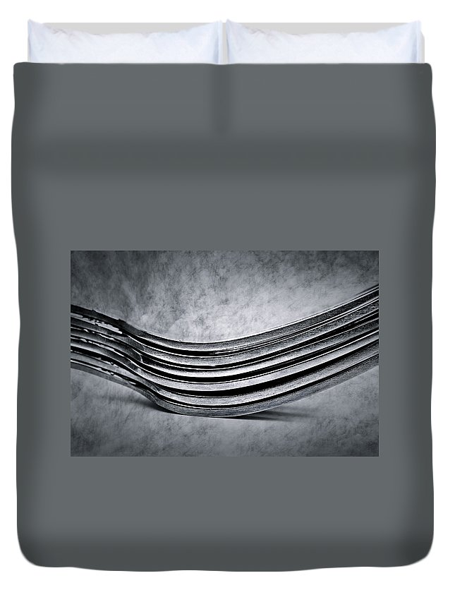 Flatware Duvet Cover featuring the photograph Forks - Antique Look by Onyonet Photo Studios