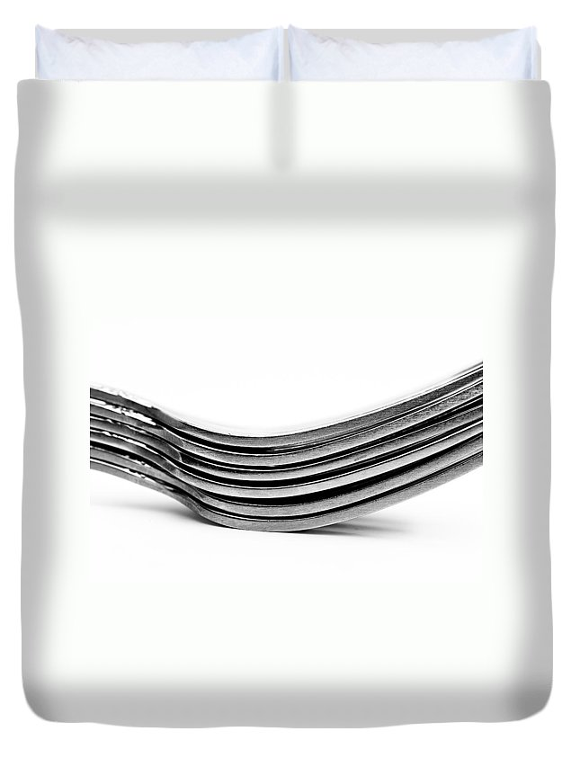 Flatware Duvet Cover featuring the photograph Forks by Onyonet Photo Studios