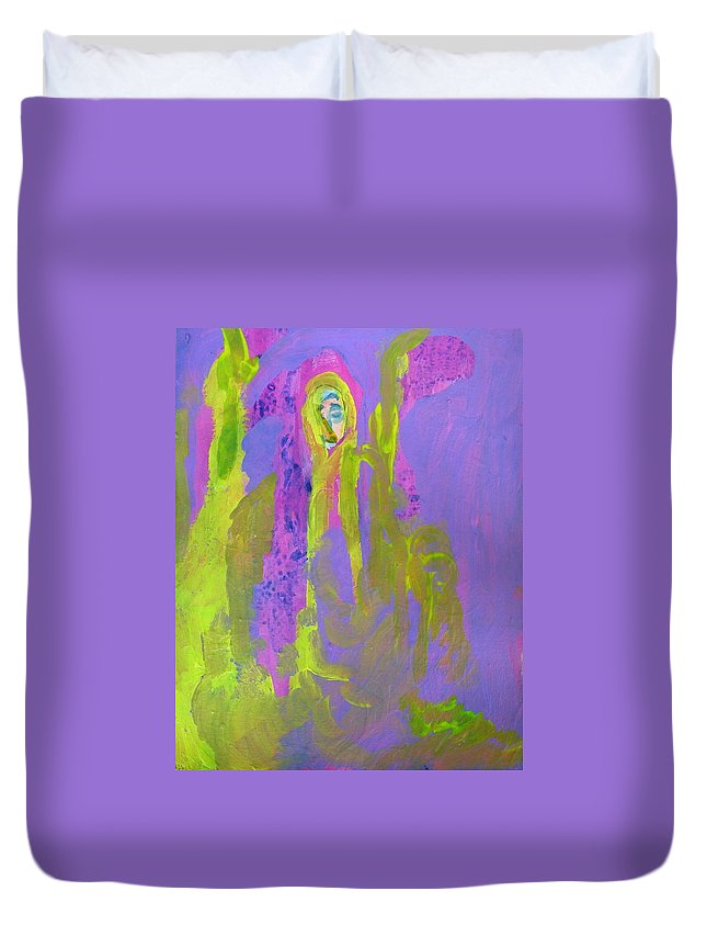 Abstract Duvet Cover featuring the painting Forlorn In Purple And Yellow by Judith Redman