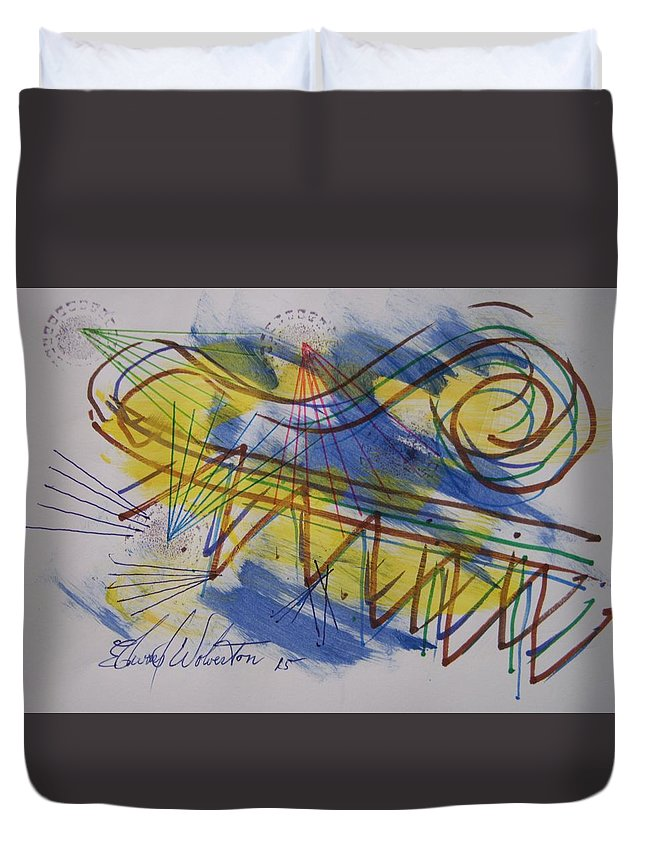 Sacience Duvet Cover featuring the mixed media Form View 36 by Edward Wolverton