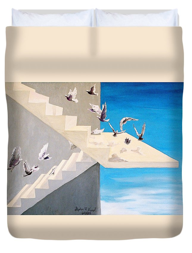 Birds Duvet Cover featuring the painting Form Without Function by Steve Karol