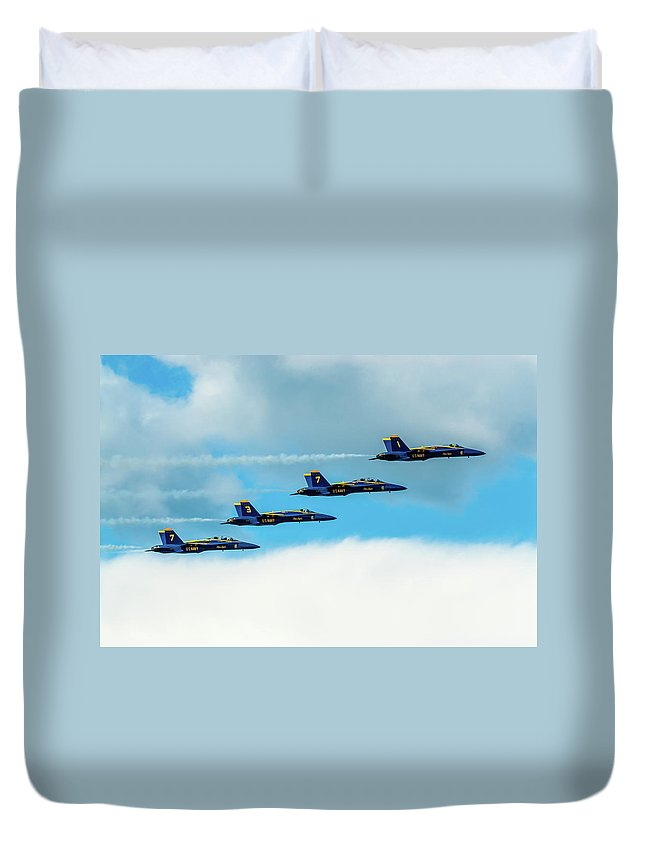 Aircraft Duvet Cover featuring the pyrography Formation Of Blue Angels by Javier Flores
