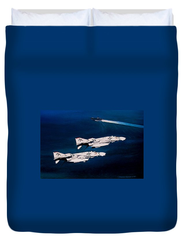 Military Duvet Cover featuring the painting Forrestal S Phantoms by Marc Stewart