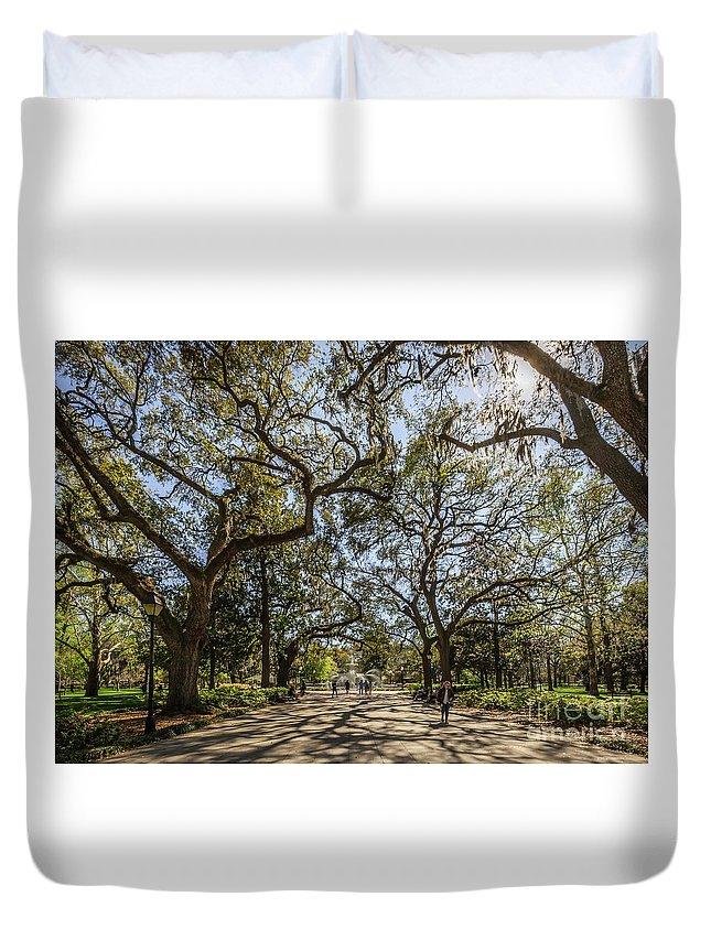 Savannah Duvet Cover featuring the photograph Forsyth Park by Joan McCool
