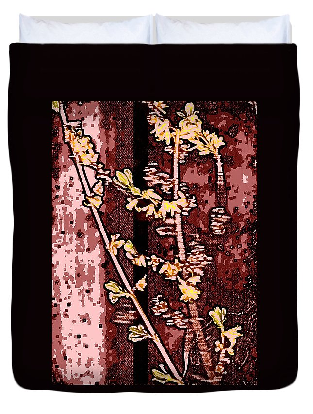 Flower Duvet Cover featuring the photograph Forsythia Branch by Wayne Potrafka