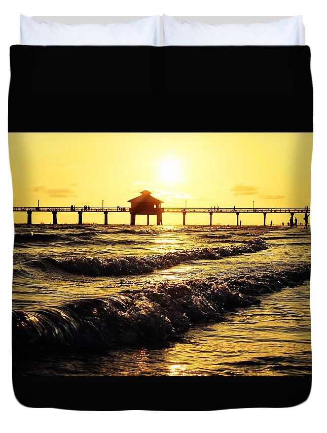Pier Duvet Cover featuring the photograph Fort Myers Pier by Alexander Eib