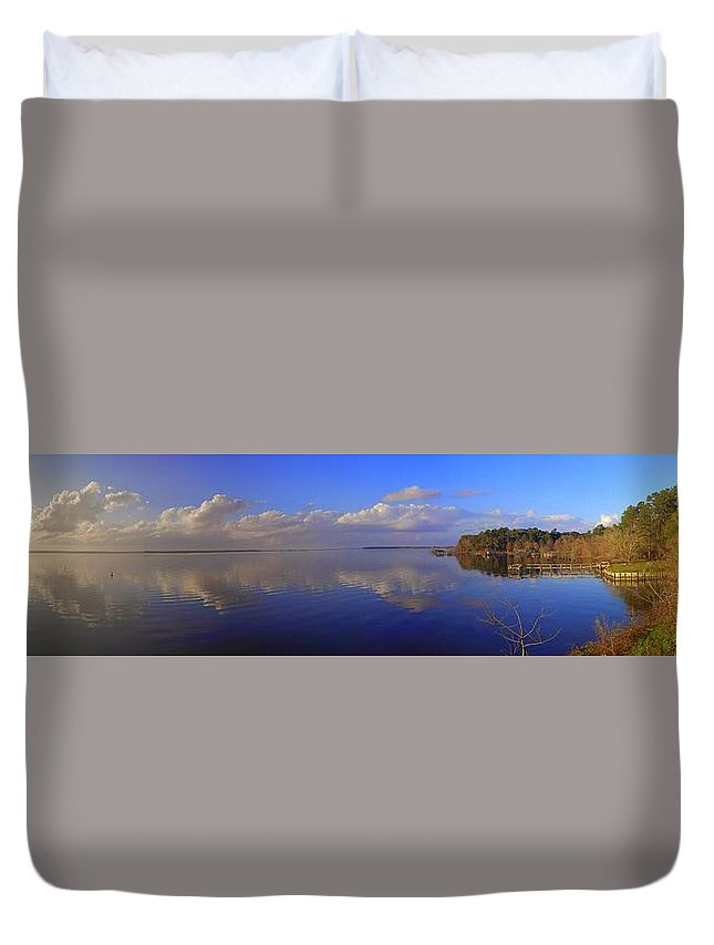 Landscapes Duvet Cover featuring the photograph Fort Watson Panorama by Noel Adams