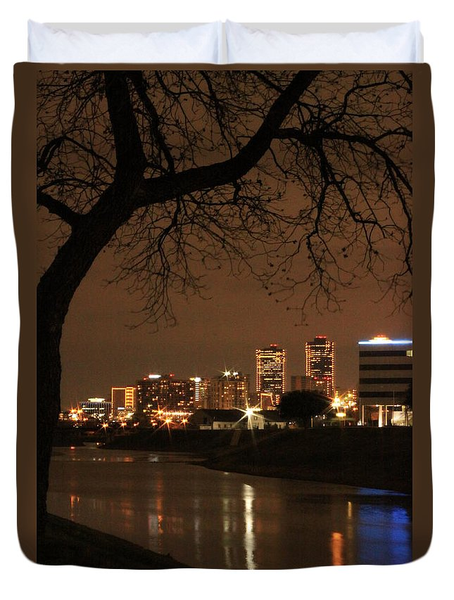 Night Duvet Cover featuring the photograph Fort Worth Skyline by Jill Smith