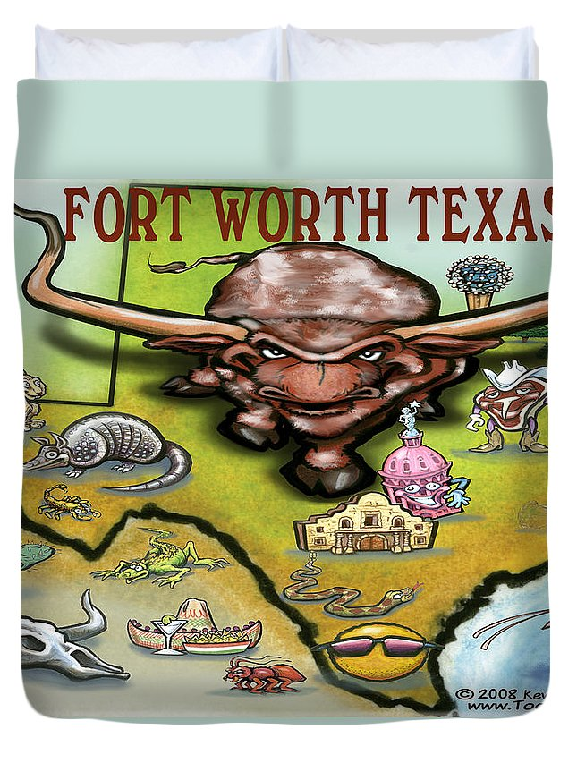 Fort Worth Duvet Cover featuring the greeting card Fort Worth Texas Cartoon Map by Kevin Middleton
