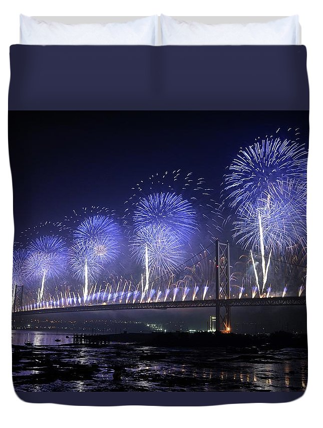 Forth Duvet Cover featuring the photograph Forth Road Bridge Fireworks by Cathy Lovell