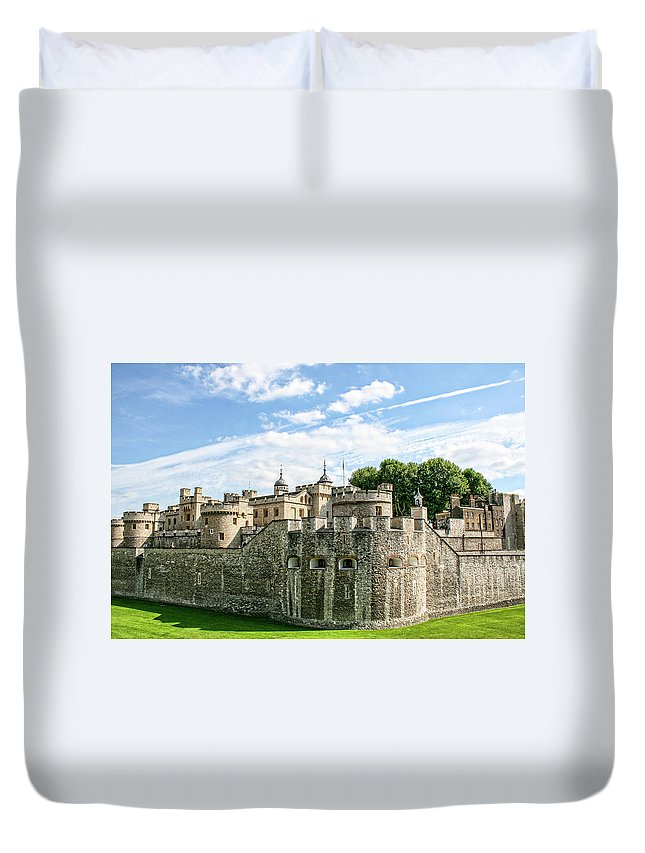 The Tower Of London Duvet Cover featuring the photograph Fortress Of The Tower Of London by Photopoint Art