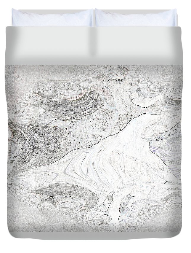 Fossil Horse Water Sand Bone Stone Abstract Wild Visions Duvet Cover featuring the photograph Fossilizing by Andrea Lawrence