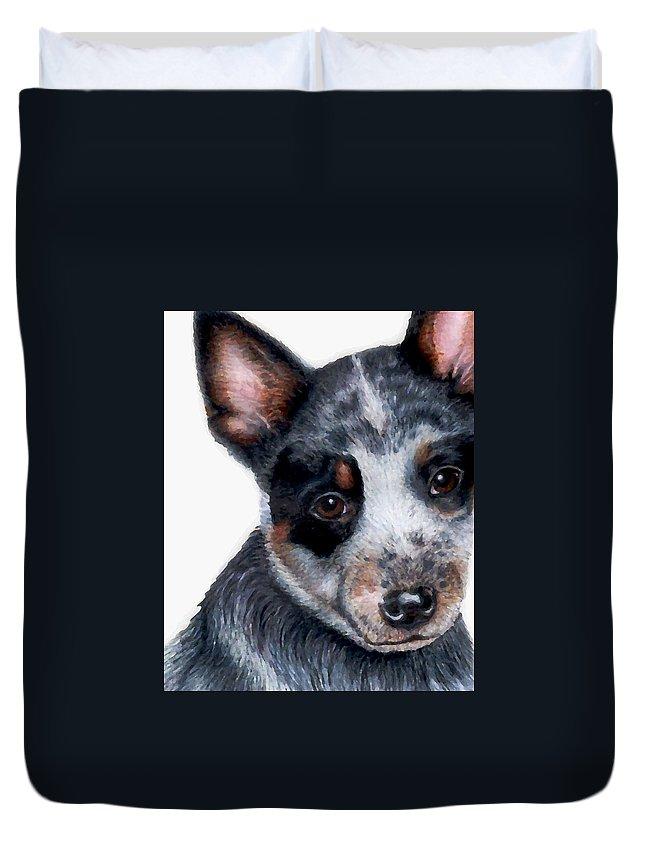 Australian Cattle Dog Duvet Cover featuring the drawing Foster Detail by Kristen Wesch