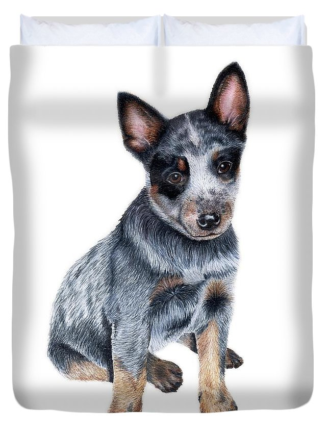 Dog Duvet Cover featuring the drawing Foster by Kristen Wesch