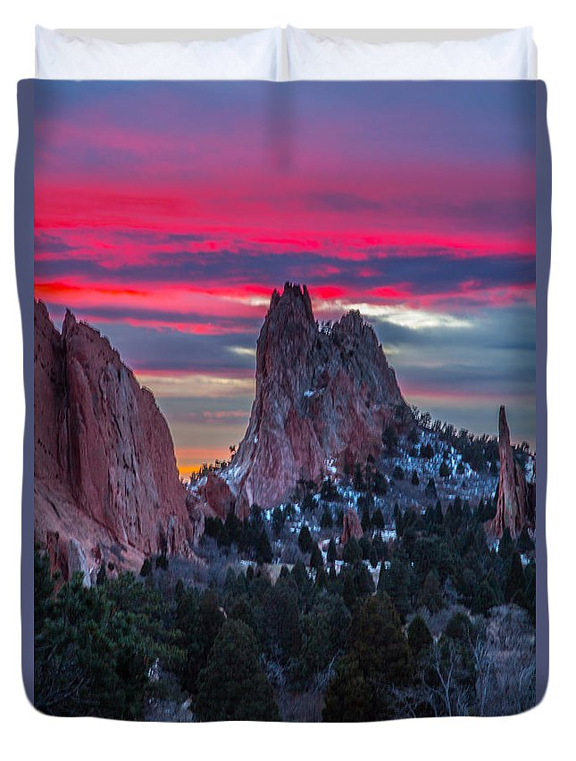Garden Of The Gods Duvet Cover featuring the photograph Found It I by James Sibert