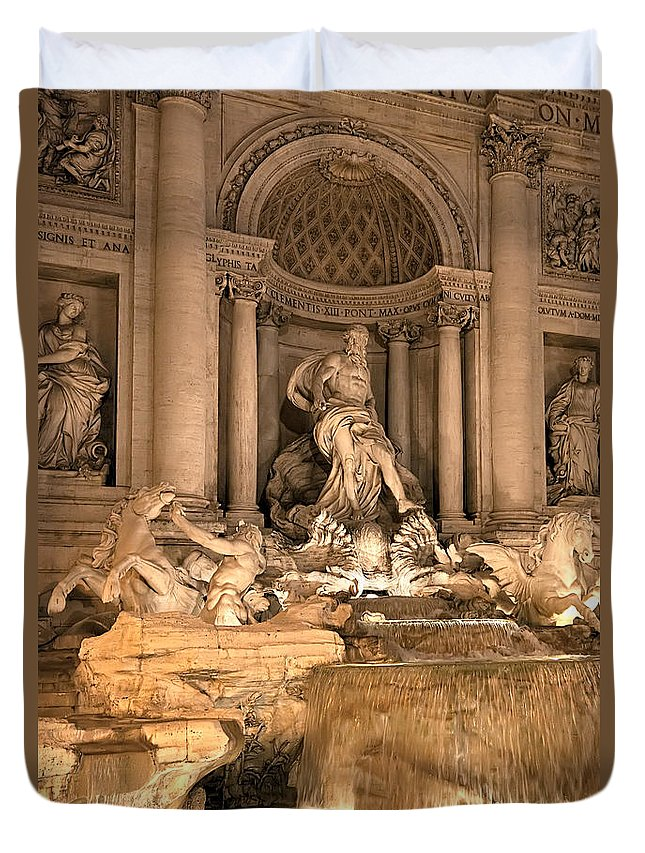 Italy Duvet Cover featuring the photograph Fountain Lights by Janet Fikar