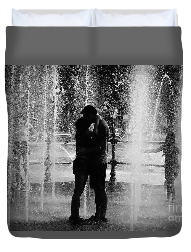 Black&white Duvet Cover featuring the photograph Fountain Love by Miroslav Hristov